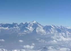 The massif of Mont Blanc - French-Swiss-Italian Alps