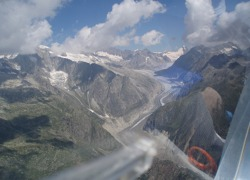 Swiss Alps and glaciers from a glider