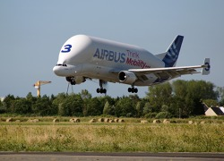 Landing Airbus cargo aircraft Beluga - St. Nazaire, France