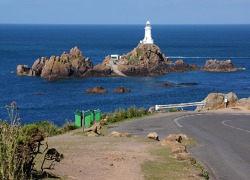 La Corbiére lighthouse, western coast of Jersey island, Channel Islands
