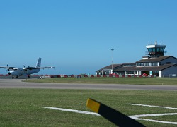 Commercial traffic at St Mary ́s – aircraft of Skybus connect isles of Scilly with Land ́s End