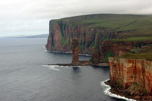Western coast of Hoy island with the famous Old Man of Hoy rock