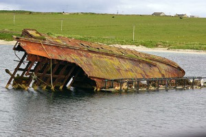 Churchil´s barrier No 3 - the shipwrecks were supposed to block the area from german submarines