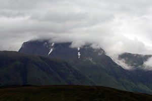 The highest peak of Great Britain - Ben Nevis in the clouds
