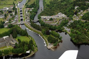 Fort Augustus, southern tip of Loch Ness, family of river locks