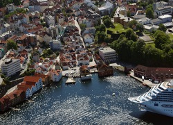 The port and city of Bergen, Norway