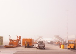 Fog at Pisa airport, Italy