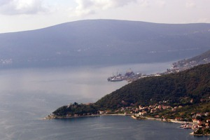 The straint between the bay of Kotor and the bay of Tivat in Boka Kotorska