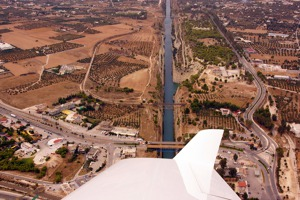 The mainland is to the right, Corinth canal in the middle and Peloponessos to the left