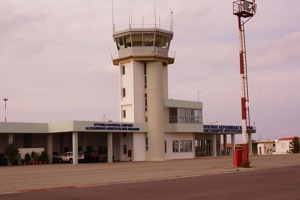 The airport tower at Aristotle Onassis airport, Kythira
