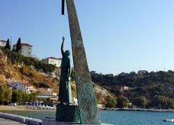 Statue of mathematician Pythagoras, the port of Pythagoreion