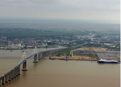 The bridge across river Loire at St Nazaire